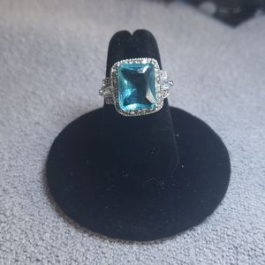 Fun, costume blue crystal and pave silver ring